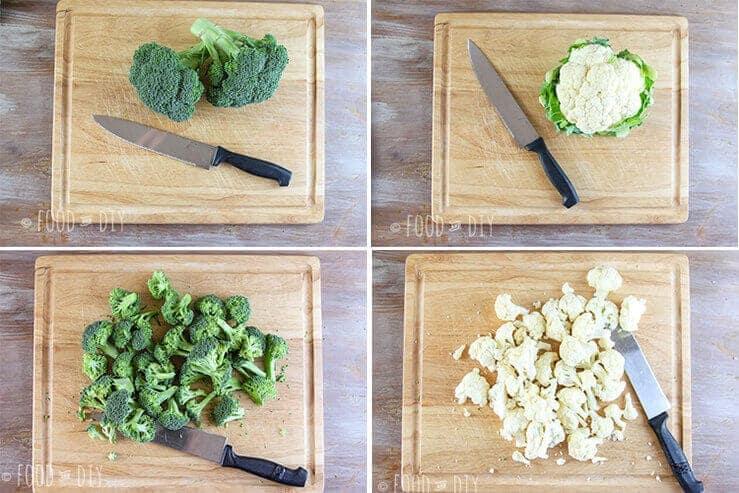 broccoli, cauliflower, cutting board, knife