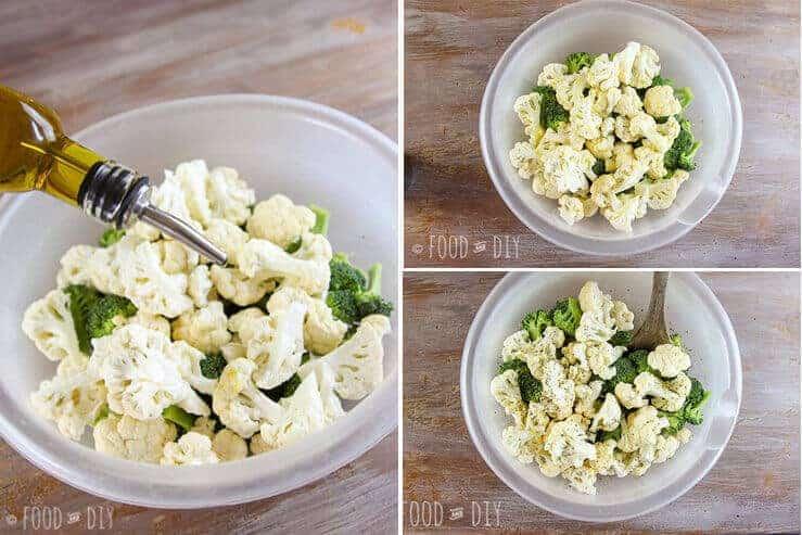 bowl, broccoli, cauliflower, olive oil