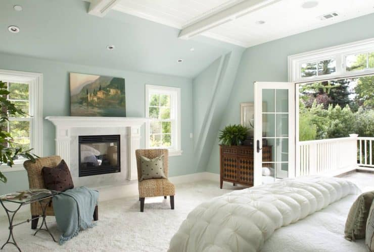 traditional master bedroom with Benjamin Moore Woodlawn Blue HC-147 light and soft blue wall paint color