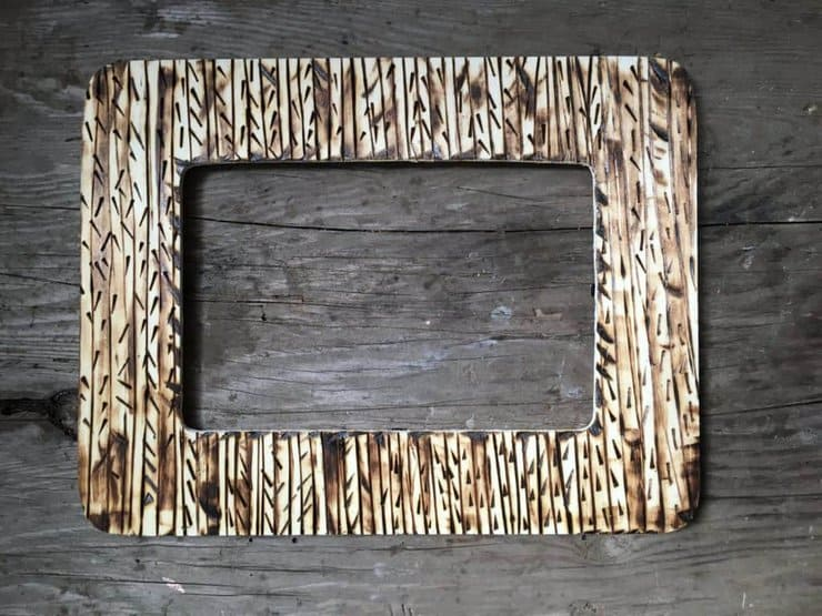 wood burned picture frame