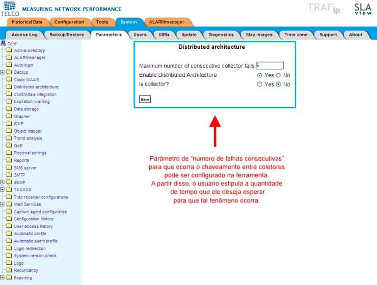 Figura 5: Configuración de tiempo esperado hasta que haya una conmutación entre los colectores. En este caso, es verificada la información de número de errores consecutivos en el envío de informaciones para los colectores. Un colector puede enviar datos cada 5 minutos. En este caso, después de 6 errores consecutivos (que corresponden a 30 minutos), las informaciones serán conmutadas para otro colector.