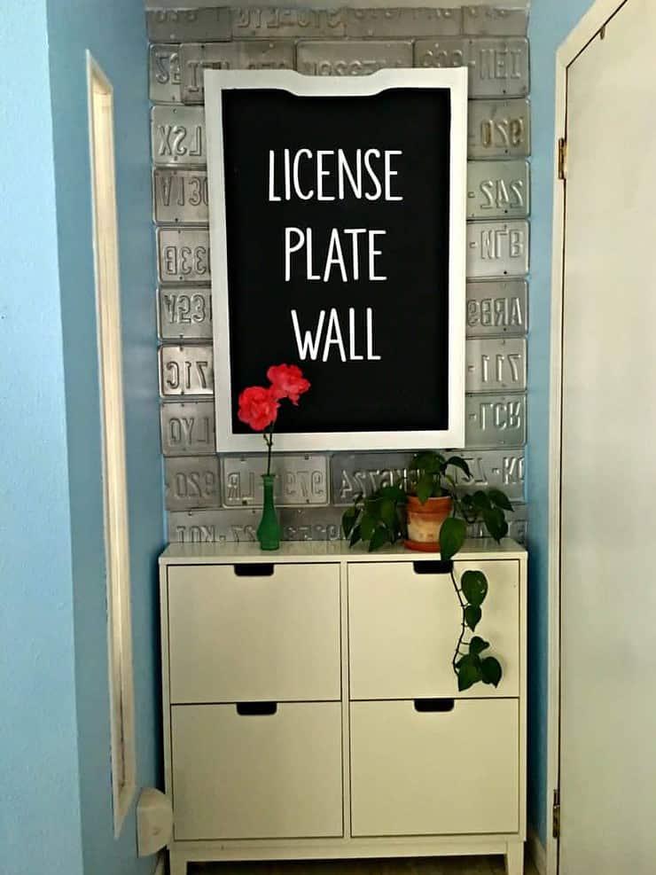 license plate wall diy