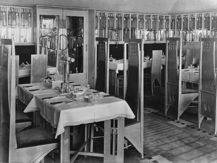 Inside of the Willow Tea Rooms, Mackintosh's most renowned total work of art.