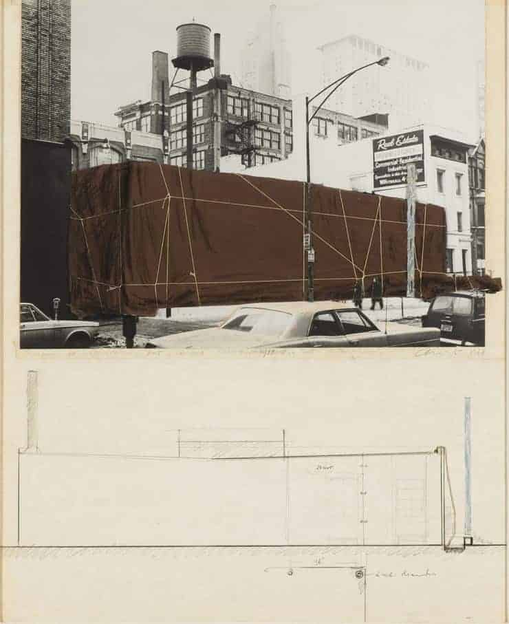 Sketch by Christo (Christo Javacheff), Packed, 1968. White Cube.
