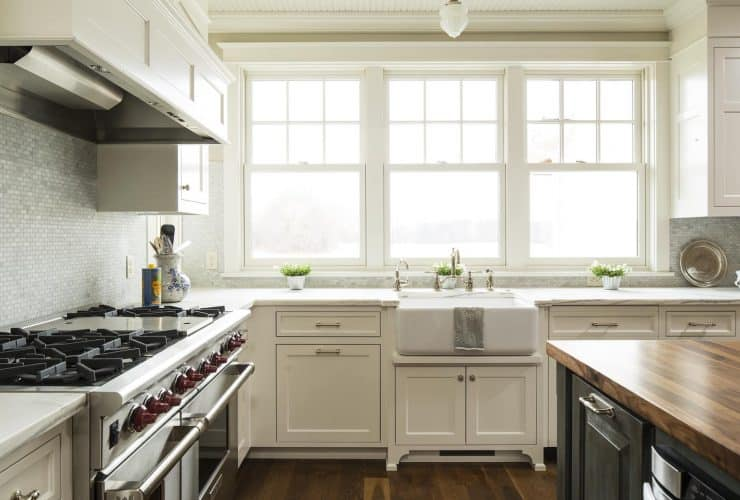 off-white cabinets in farmhouse kitchen