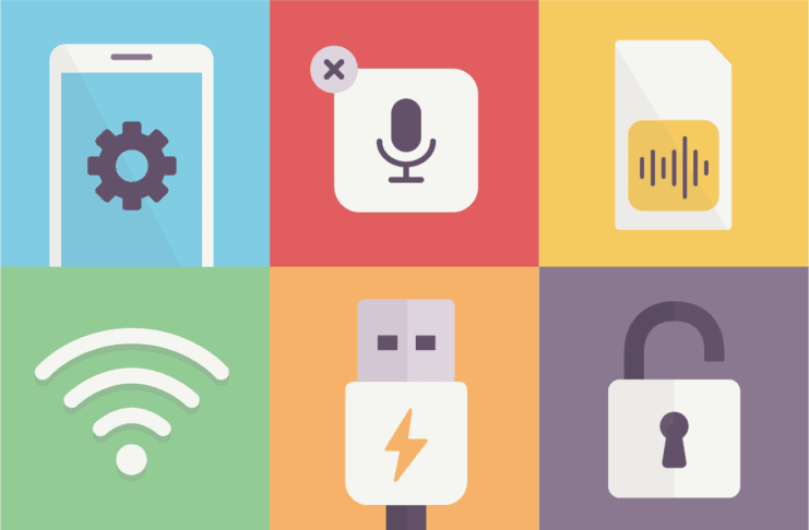 A collage of images related to mobile devices, e.g.: a Sim card and a USB socket.