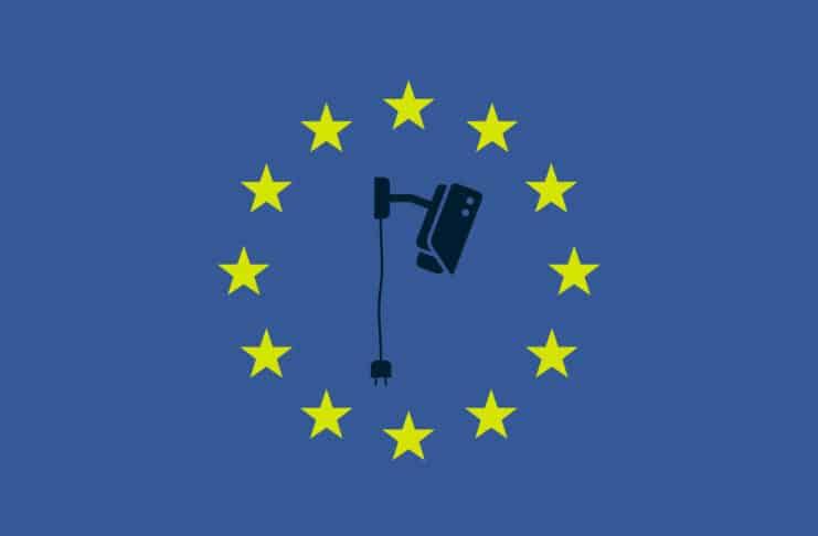 EU stars surrounding a fallen CCTV camera.