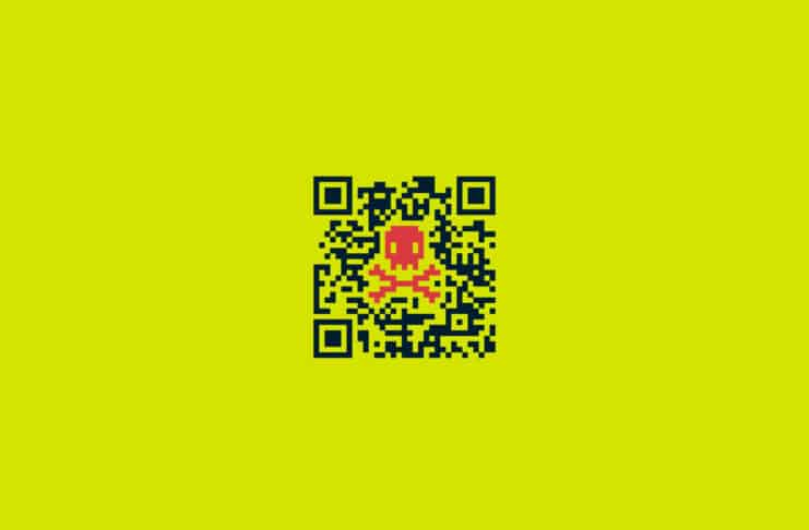 QR code with a skull on it.