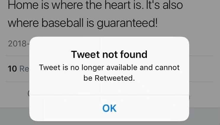 You are trying to view the deleted tweet
