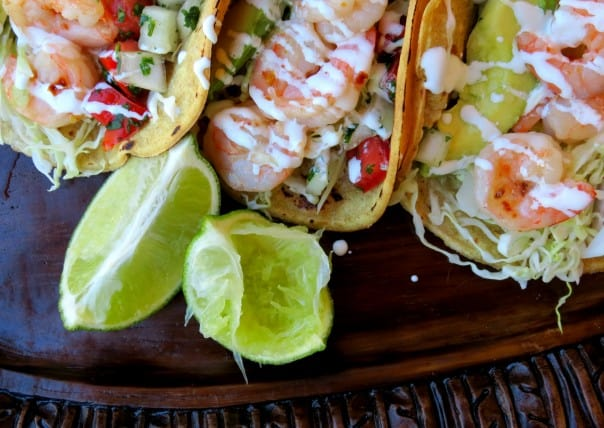Habanero Butter Shrimp Tacos with Lime