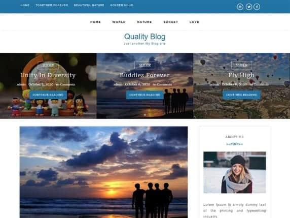quality blog free wordpress theme