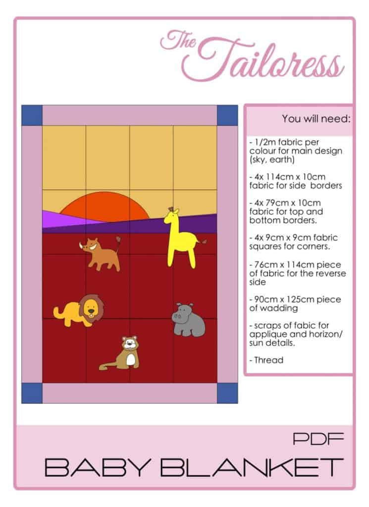 The Tailoress PDF Sewing Patterns - Safari Baby Blanket 1 Tutorial
