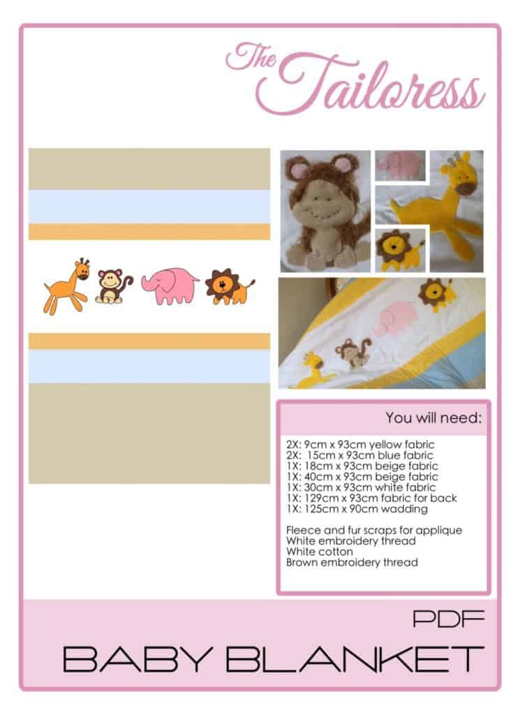 The Tailoress PDF Sewing Patterns - Safari Baby Blanket 2 Tutorial
