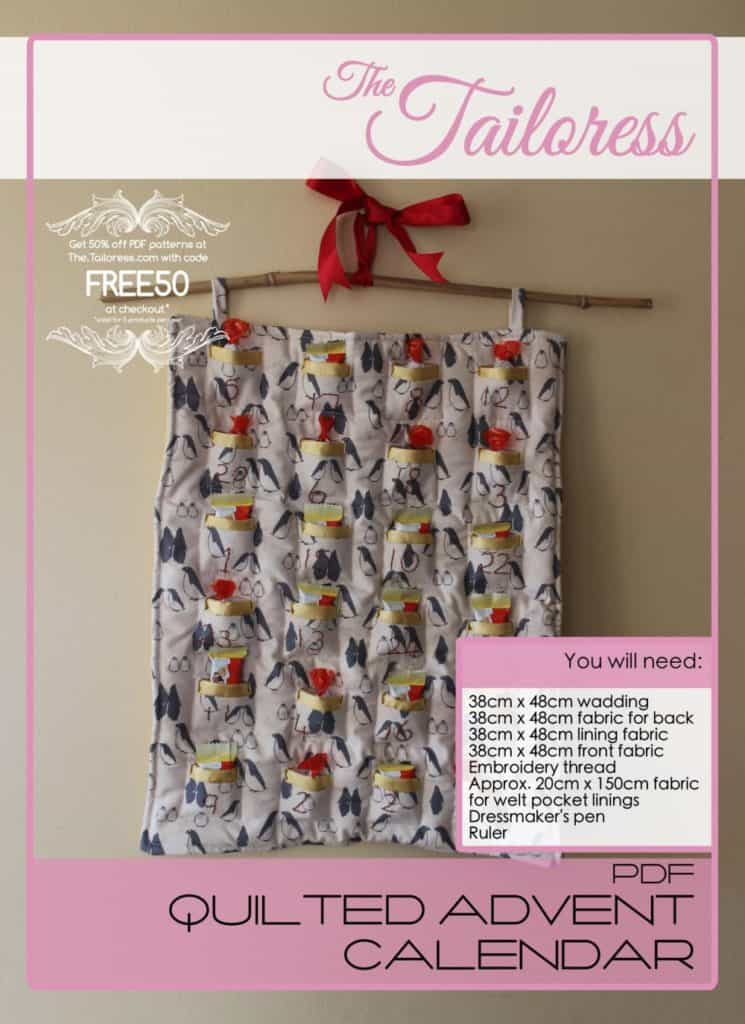 The Tailoress PDF Sewing Patterns - Quilted Advent Calendar Tutorial