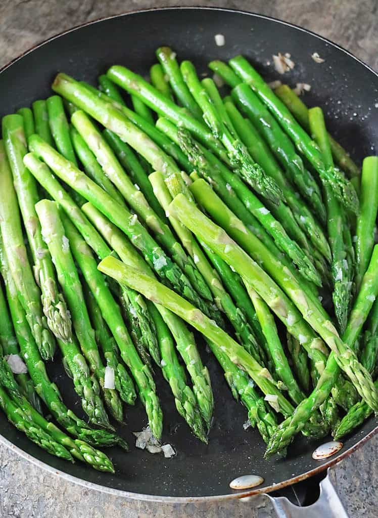 Shallots And Asparagus Saute in Pan