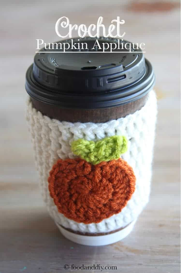 Crochet pumpkin applique on crochet coffee cozy