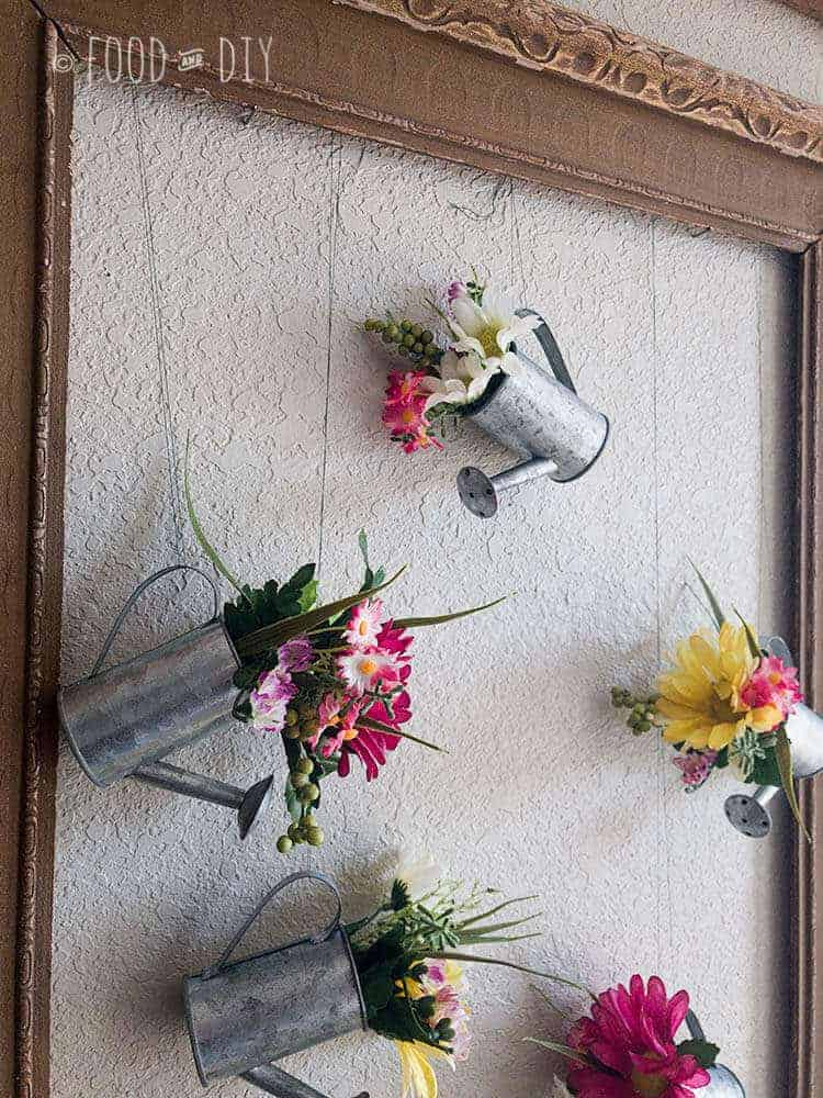 Mini Watering Can with Flowers Decor Idea