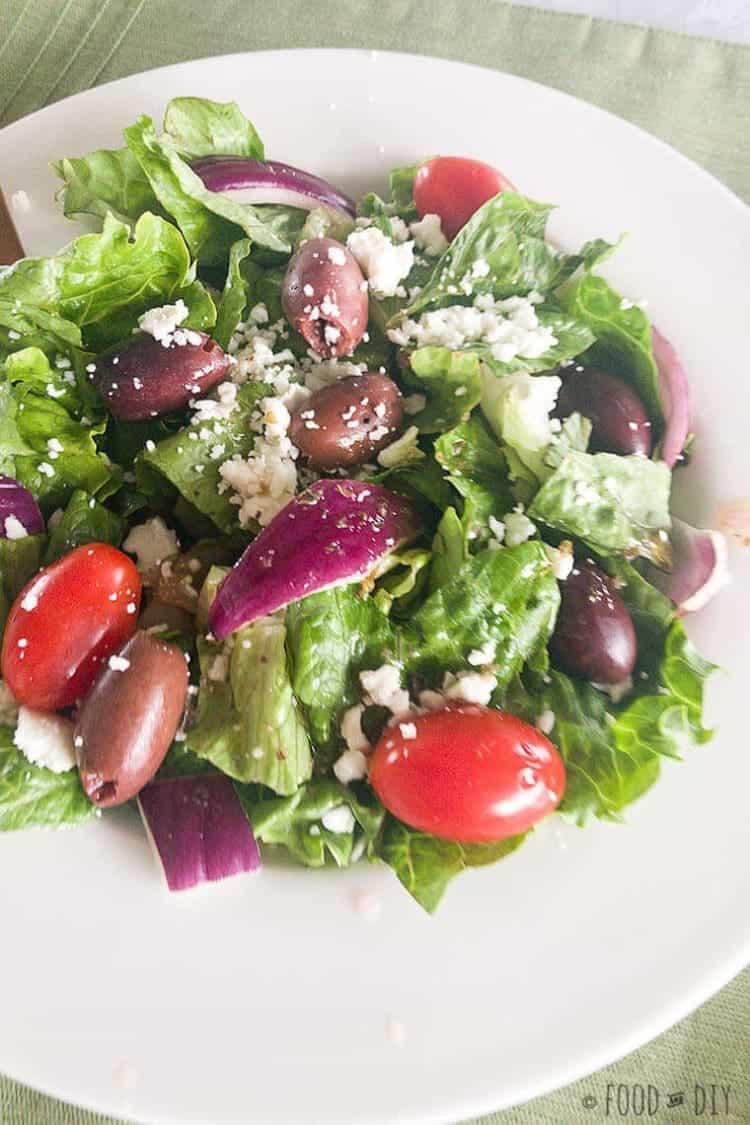 Simple Greek Salad with Homemade Vinaigrette