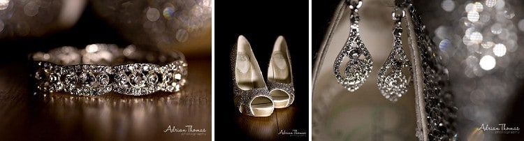 Brides shoes and jewellery