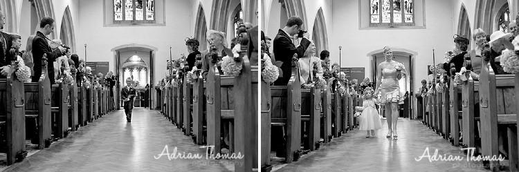 Bridesmaid walking down isle