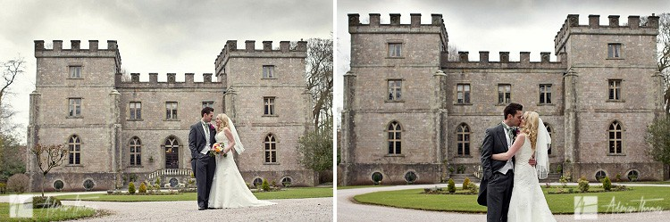 Bride and groom kissing at their wedding outside Clearwell Castle wedding venue.