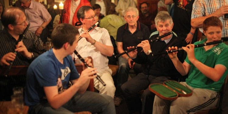A session in Tubbercurry where the Irish Flute is the predominant instrument being played. Photo: Bob Singer - The Irish Place