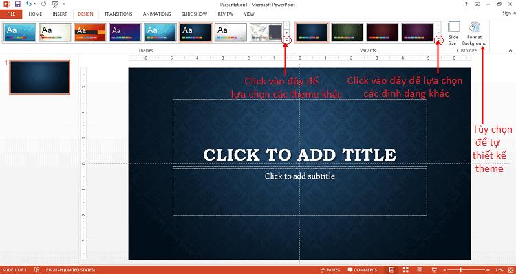 Chỉnh sửa theme cho powerpoint trên tab Design
