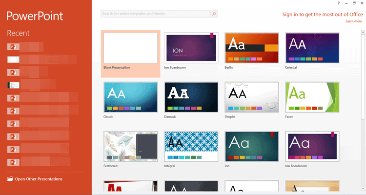 Chọn theme cho powerpoint khi mở file mới