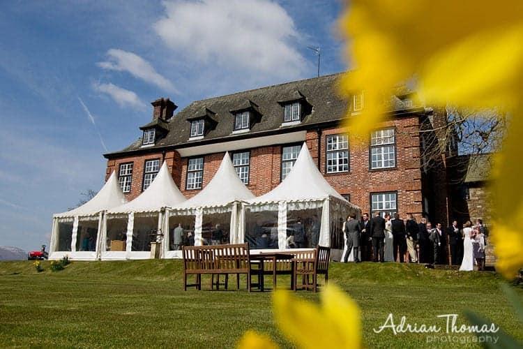 Mingling at Llansantffraed Court Wedding
