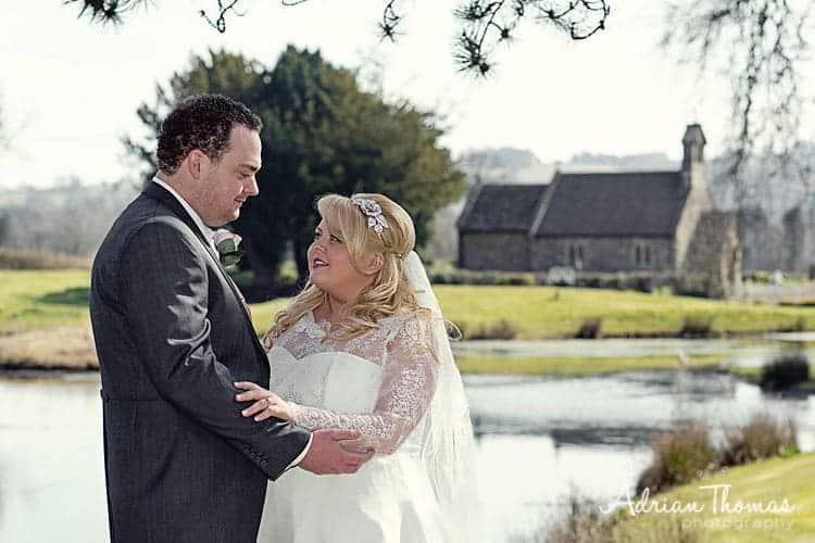 Bride & groom at Llansantffraed Court Wedding and St Bridgets Church