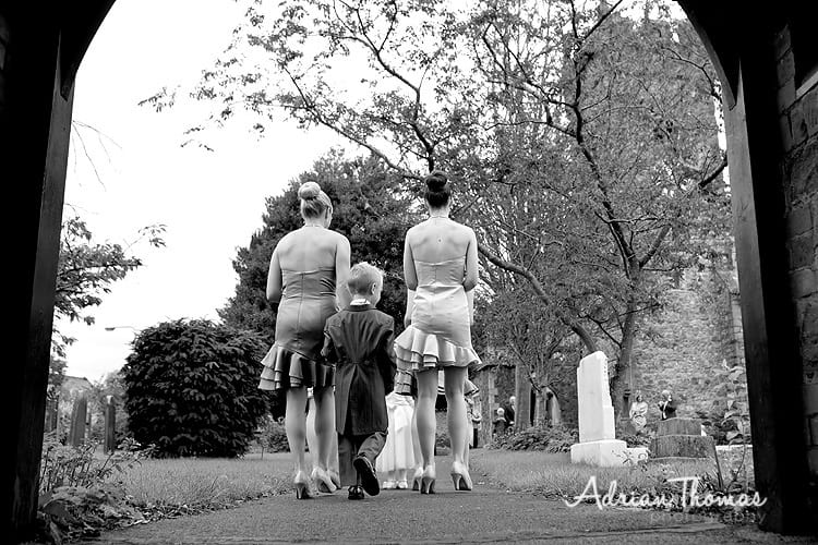 Bridesmaids arriving at church