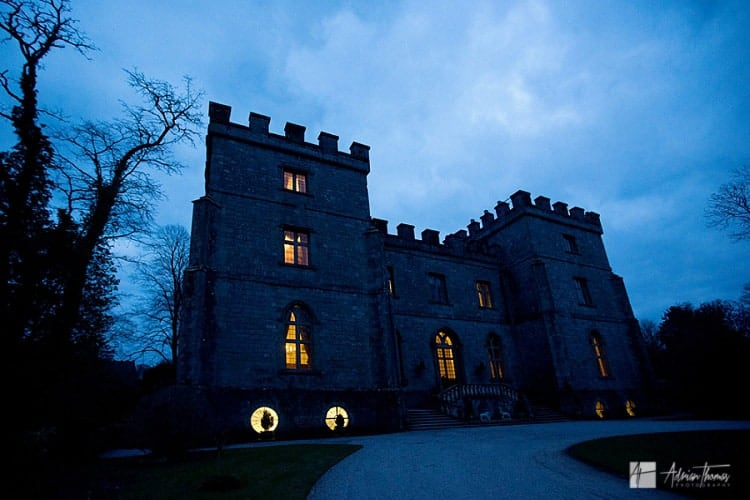 Image taken during late evenings wedding events in Clearwell Castle