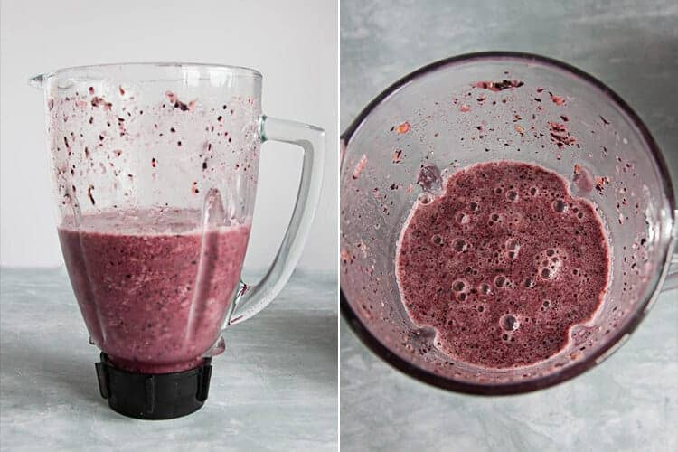 blueberry pineapple smoothie in a blender