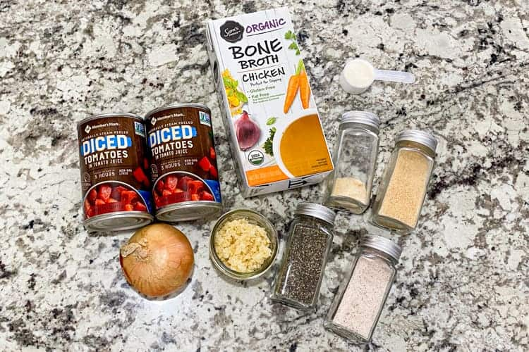 Ingredients for garlic tomato soup