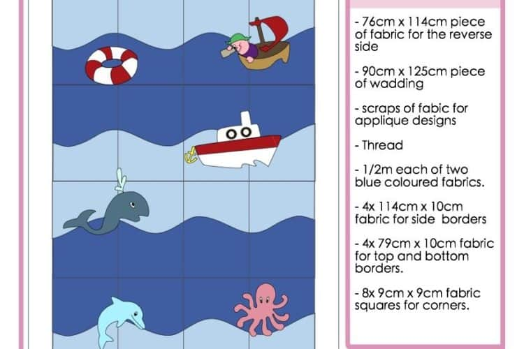The Tailoress PDF Sewing Patterns - Nautical Baby Blanket Tutorial