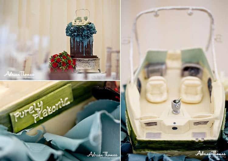 minature boat wedding cake