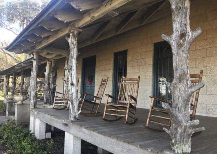 The historic lodge at Princess Place Preserve is built in the Adirondack Camp Style. The rustic hunting lodge uses local materials. (Photo: Bonnie Gross)
