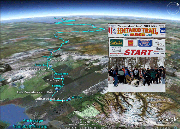 Project based learning using the Iditarod sled dog race in Alaska. Screenshot from Real World Math.