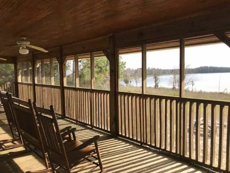 The huge screened porches at the cabins at Lake Louisa State Park in Clermont overlook Dixie Lake. (Photo: Bonnie Gross)