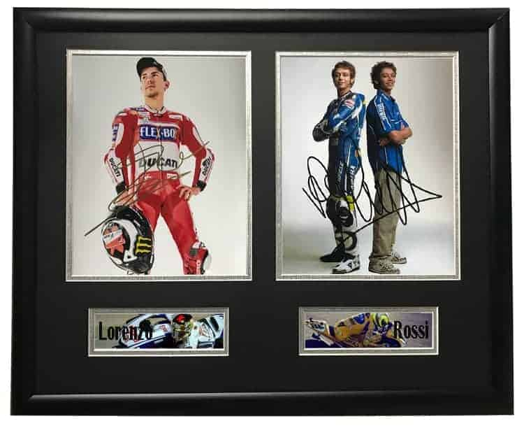 Valentino Rossi and Jorge Lorenzo Autographed Signed Photo