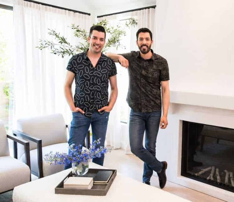 As seen on Celebrity IOU, Property Brothers Drew and Jonathan Scott in Valarie Cearley's newly remodeled Living Room at her home in Los Angeles, CA.