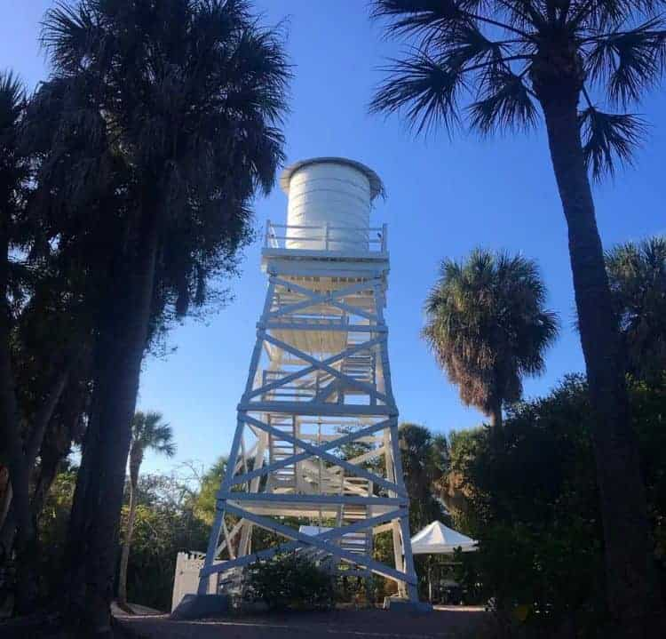 The historic wooden water tower on Cabbage Key still holds the water pumped from a well, the island's only source of water. (Photo by Bonnie Gross)