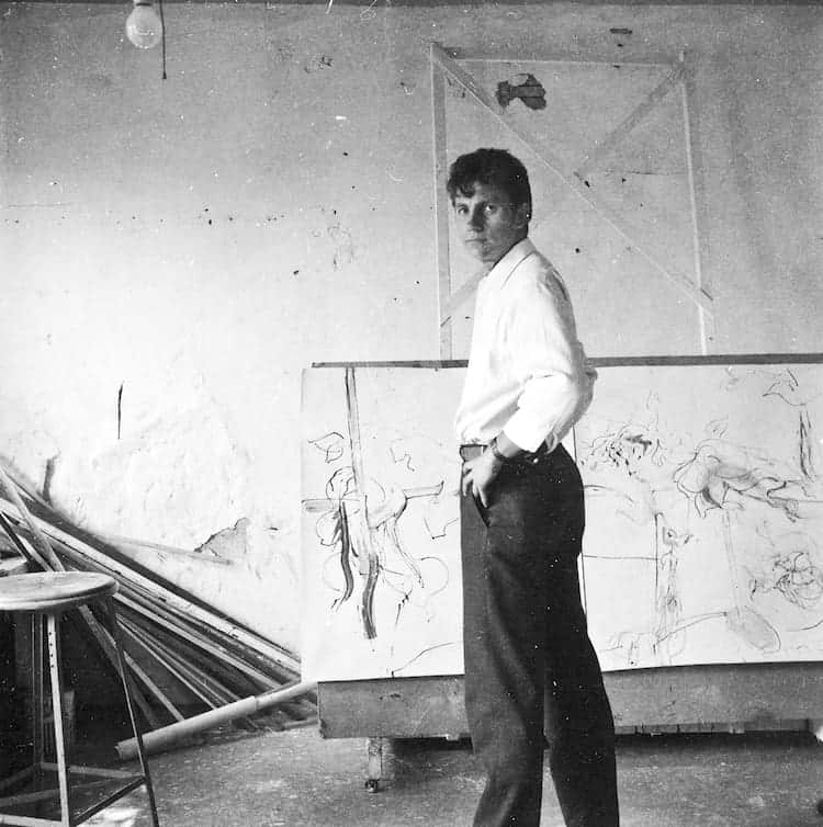 Ed Moses in his shared studio on Sawtelle Boulevard in 1958. Courtesy of JD Malat Gallery.