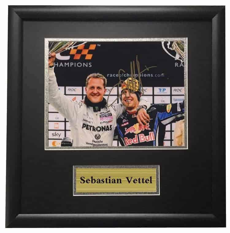 Michael Schumacher and Sebastian Vettel Framed Autographed Signed Photo