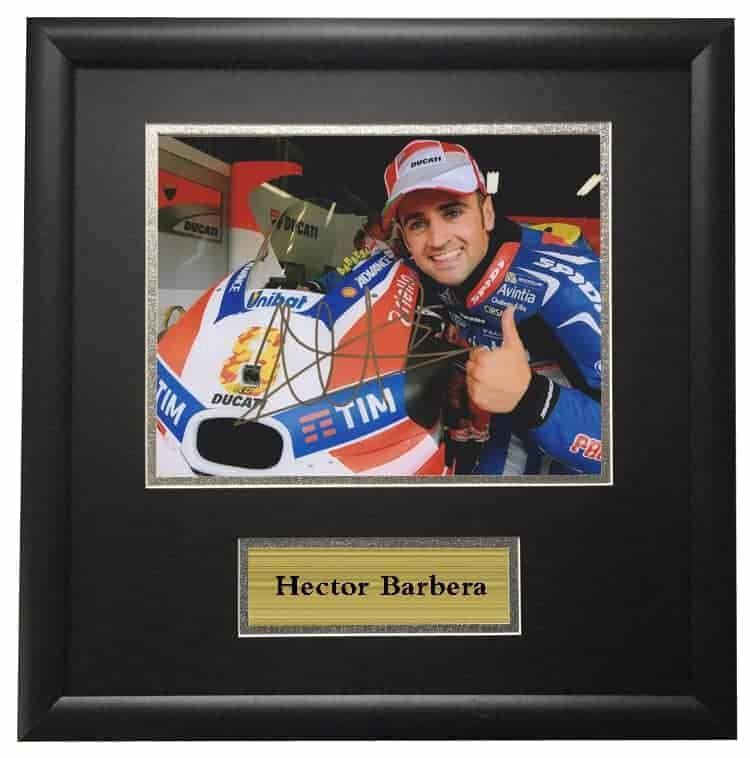 Hector Barbera Ducati Picture Framed Autographed Signed