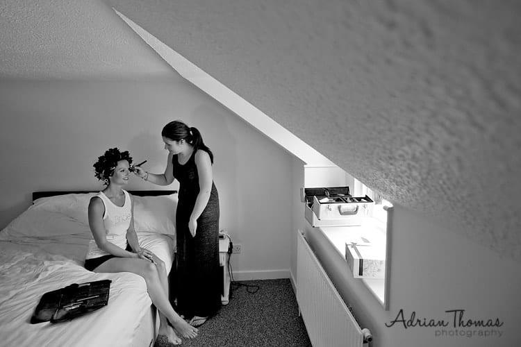 Bride with makeup artist