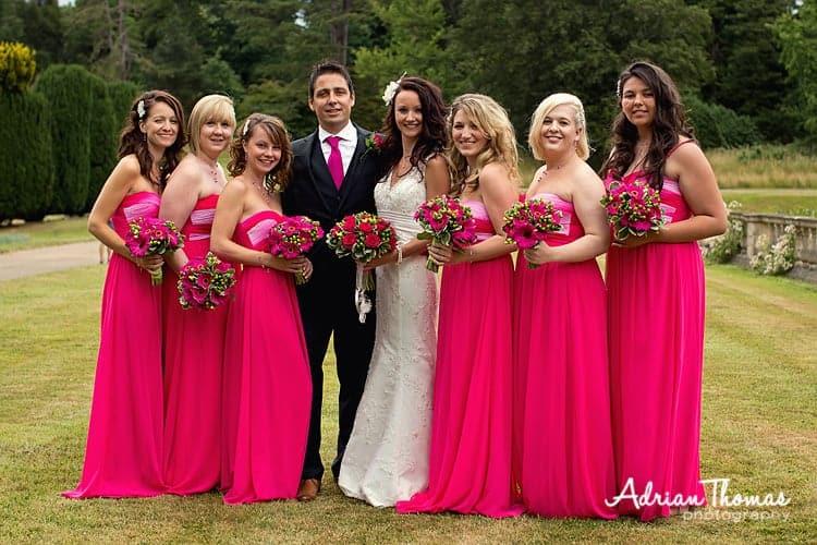 bridesmaid group at dyffryn gardens