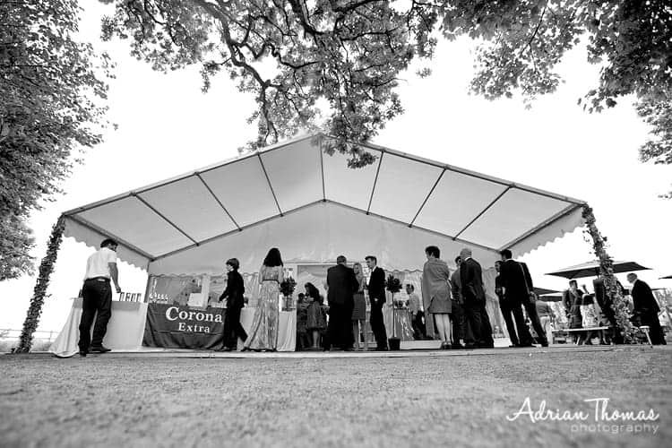 Photograph of guests and marque at Llanerch Vineyard