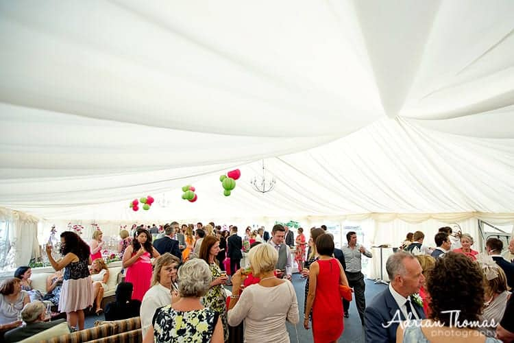 inside marquee at llanerch