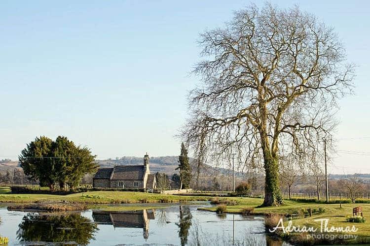 Photograph of St Bridget's Church set within Llansantffraed Court Hotel wedding grounds